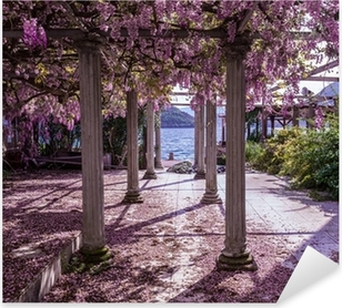 Beautiful front yard with pillars and wisteria flowers Pixerstick Sticker
