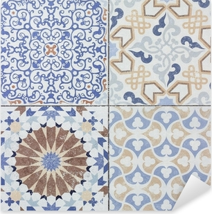 Beautiful old ceramic tile wall patterns in the park public. Pixerstick Sticker