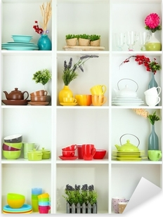 Beautiful white shelves with tableware and decor. Pixerstick Sticker