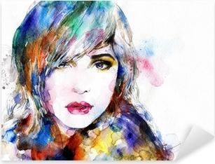 Beautiful woman face. watercolor illustration Pixerstick Sticker