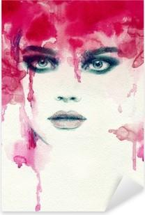 Beautiful woman. watercolor illustration Pixerstick Sticker
