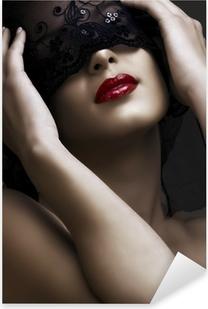 beautiful woman with mask Pixerstick Sticker