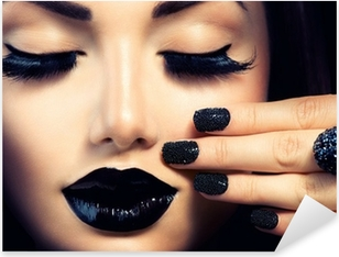 Beauty Fashion Girl with Trendy Caviar Black Manicure and Makeup Pixerstick Sticker