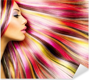 Beauty Fashion Model Girl with Colorful Dyed Hair Pixerstick Sticker