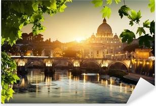 Pixerstick Sticker Bekijken op de Tiber en de basiliek van St Peter in Vaticaan