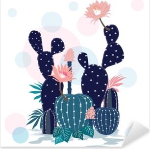 Sticker Pixerstick Belle collection de cactus. illustration de style fragmentaire.