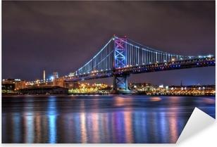 Benjamin Franklin Bridge at Night Pixerstick Sticker
