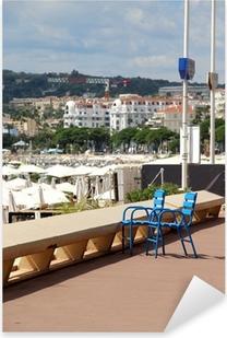 Pixerstick Sticker Beroemde blauwe stoelen in Cannes