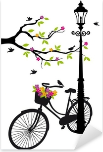 bicycle with lamp, flowers and tree, vector Pixerstick Sticker
