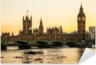Pixerstick Sticker Big Ben Clock Tower en het Parlement huis bij City of Westminster,