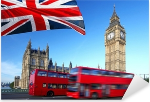 Big Ben with city bus and flag of England, London Pixerstick Sticker