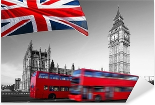 Big Ben with city buses and flag of England, London Pixerstick Sticker