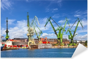 Big cranes and dock at the shipyard of Gdansk, Poland. Pixerstick Sticker
