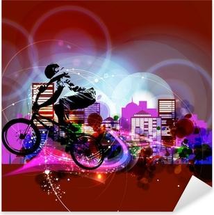 Sticker Pixerstick Biker. Vecteur