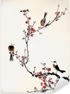 birds painting Pixerstick Sticker