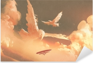 birds shaped cloud in sunset sky,illustration painting Pixerstick Sticker