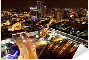 Birmingham City Centre at night Pixerstick Sticker