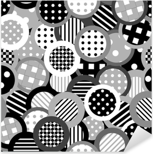 Black and white background with circles Pixerstick Sticker