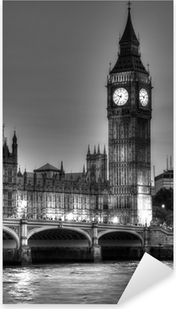Black and White photo of Big Ben, London, United Kingdom Pixerstick Sticker