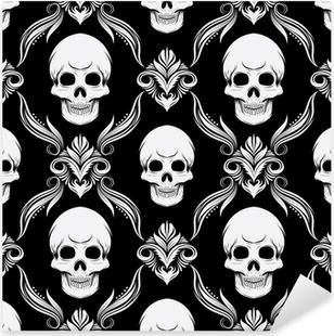 Black and White Skull Pattern Pixerstick Sticker