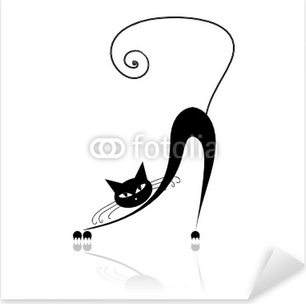 Black cat silhouette for your design Pixerstick Sticker