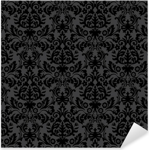 Black damask vintage floral pattern Pixerstick Sticker