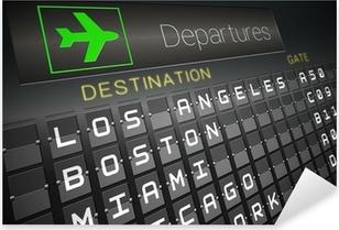 Black departures board for american cities Pixerstick Sticker