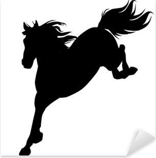 Sticker Pixerstick Black horse silhouette 14 (vecteur)