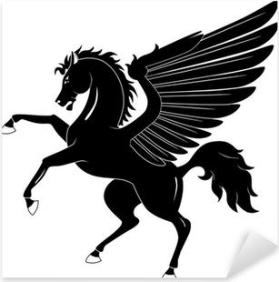 Pixerstick Sticker Black Pegasus op een witte achtergrond