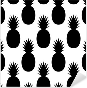 Black Pineapples Pattern Pixerstick Sticker