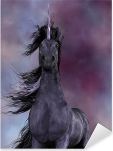 Black Unicorn Pixerstick Sticker