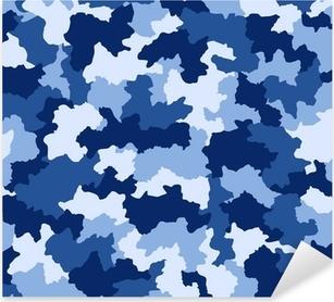 Pixerstick Sticker Blauwe camouflage naadloze patroon
