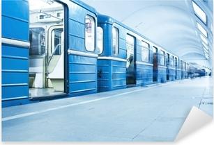 Pixerstick Sticker Blauwe trein op metro station