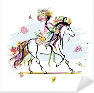 Pixerstick Sticker Bloemen meisje op witte paard voor uw ontwerp