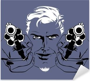 blond gangster man Pixerstick Sticker