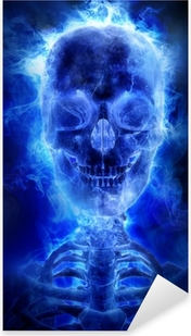 Blue flaming skull Pixerstick Sticker