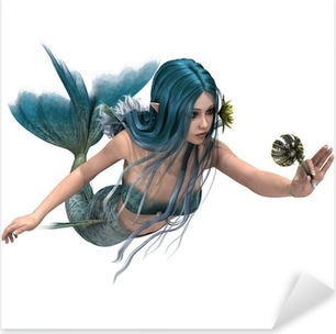 Blue Mermaid holding Sea Lily Pixerstick Sticker