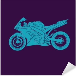 Blue Sports bike Pixerstick Sticker