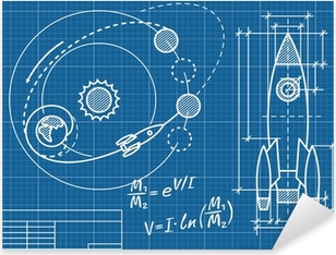 blueprint of the spaceship and its flight path Pixerstick Sticker