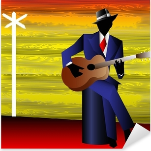 Pixerstick Sticker Blues Gitarist at the Crossroads, Vector Achtergrond voor een Conce