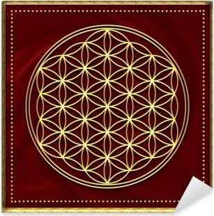 Blume des Lebens Gold Pixerstick Sticker