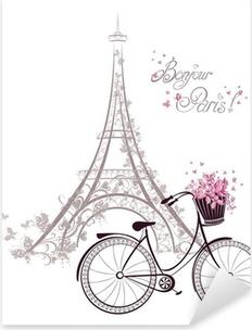 Sticker Pixerstick Bonjour texte Paris avec la tour Eiffel et vélo