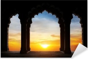 Pixerstick Sticker Boog silhouet bij zonsondergang