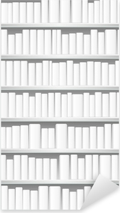 Bookcase with white books Pixerstick Sticker
