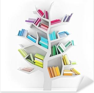 Pixerstick Sticker Boom der Kennis, Witte Plank met Multicolor boeken Geïsoleerd