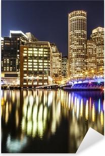 Pixerstick Sticker Boston Harbor en Financial District bij Nacht