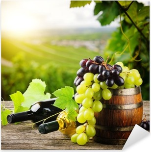 Bottles of red and white wine with fresh grape Pixerstick Sticker