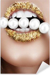 Sticker Pixerstick Bouche feuille d'or avec des perles