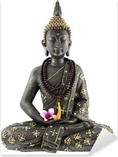 Bouddha avec chapelet de prière et fleur d'orchidée Pixerstick Sticker