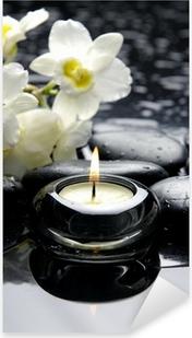 Sticker Pixerstick Bougies d'aromathérapie et de pierres zen avec la branche orchidée blanche